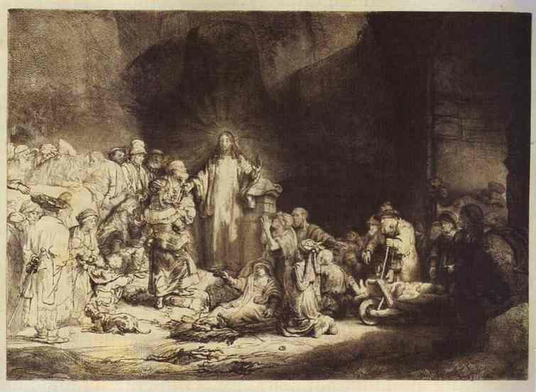 "Rembrandt Harmenszoon van Rijn. The Little Children Being  Brought to Jesus (""The 100 Guilder Print"")."