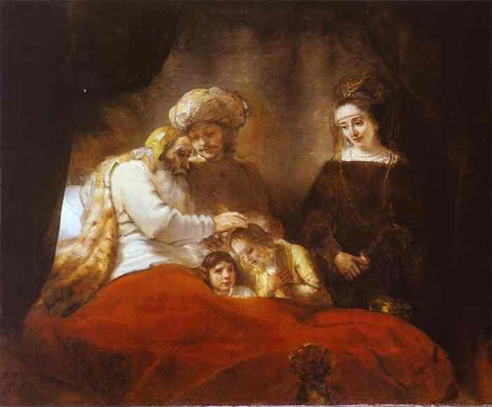 Rembrandt. Jacob Blessing the Sons  of Joseph.