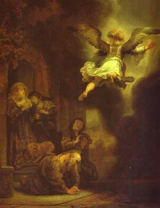Rembrandt. The Archangel Leaving the  Family of Tobias.