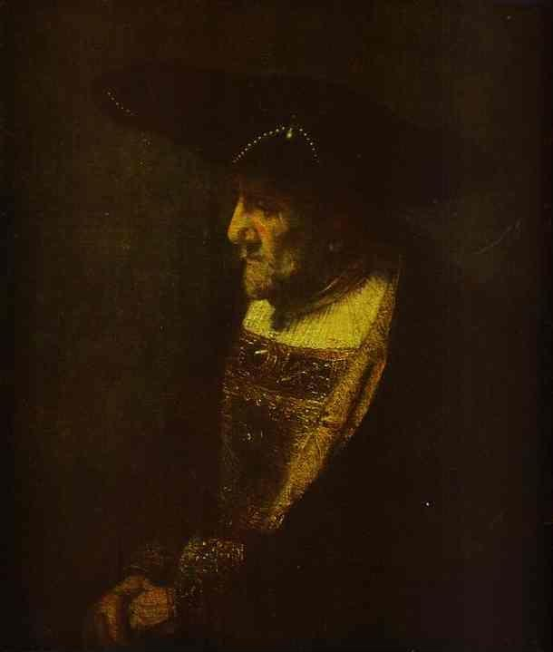 Rembrandt. Portrait of a Man in the  Hat Decorated with Pearls.