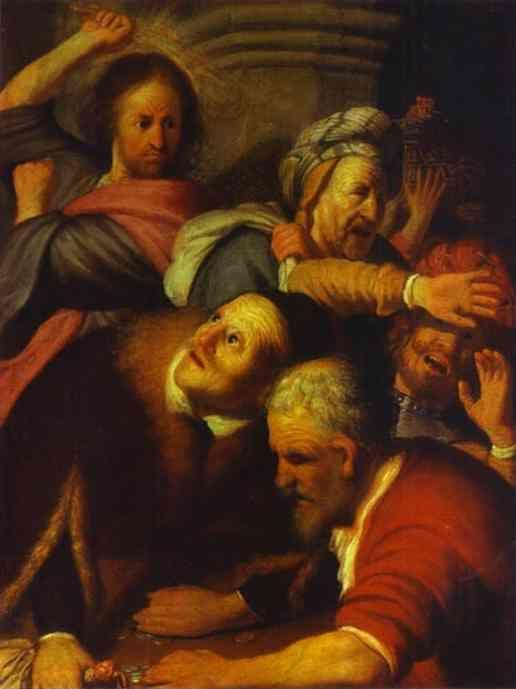 Rembrandt. Christ Drives Money-Changers  from the Temple.
