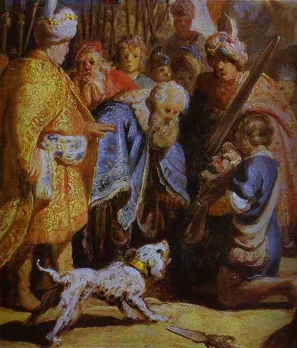 Rembrandt. David Presenting the Head  of Goliath to King Saul. Detail.