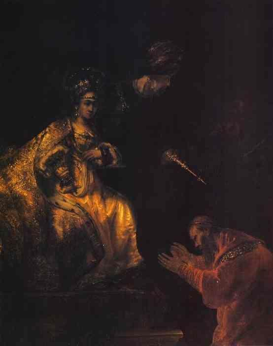 Rembrandt. Haman Begging Esther for  Mercy.