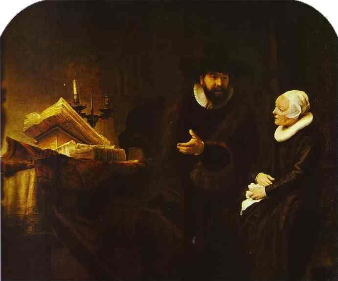 Rembrandt. The Mennonite Minister  Cornelius Claeszoon Anslo in Conversation with His Wife Aaltje.