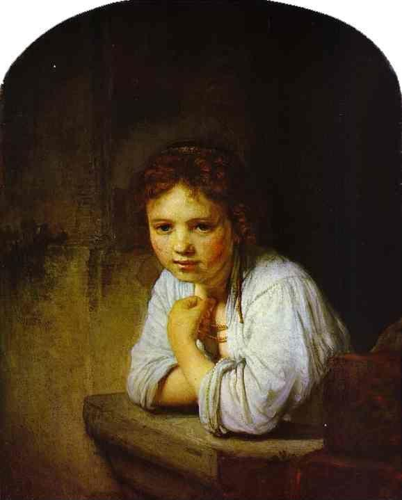Rembrandt. A Young Girl Leaning on  a Window-Sill.