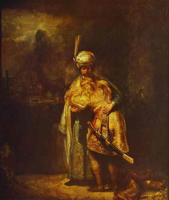 Rembrandt. Departing of David and  Jonathan.