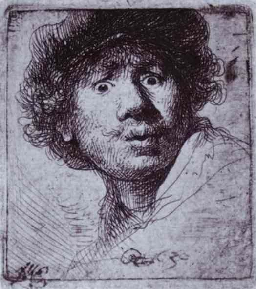 Rembrandt. Self-Portrait with Wide-Open  Eyes.