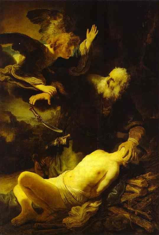 Rembrandt. The Angel Stopping Abraham  from Sacrificing Isaac to God.