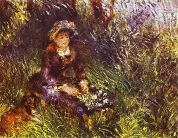 Pierre-Auguste Renoir. A Woman with A Dog  (Portrait of Madame Renoir).
