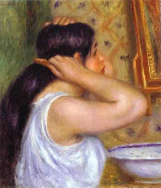 Pierre-Auguste Renoir. The Toilette; Woman  Combing Her Hair.