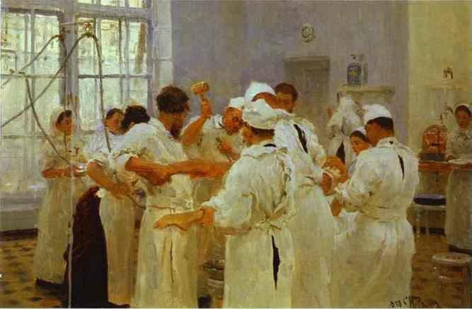 Ilya Repin. The Surgeon E. Pavlov  in the Operating Theater.