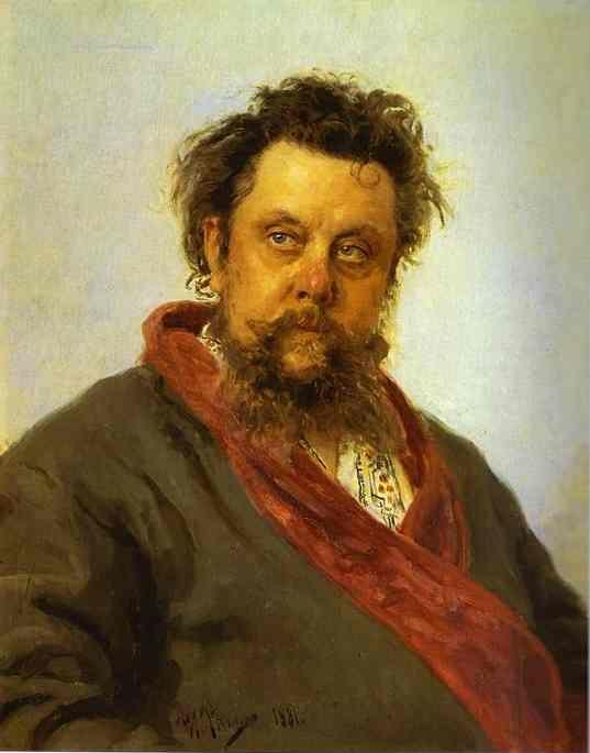 Ilya Repin. Portrait of the Composer  Modest Musorgsky.