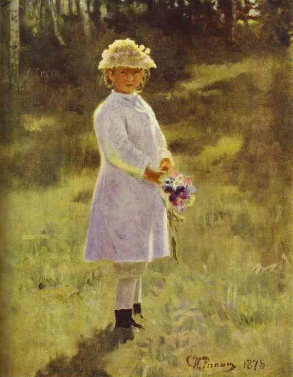 Ilya Repin. Girl with Flowers. Daughter  of the Artist.