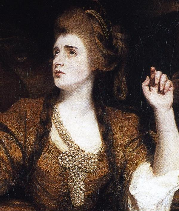 Sir Joshua Reynolds. Sarah Siddon  as the Tragic Muse. Detail.