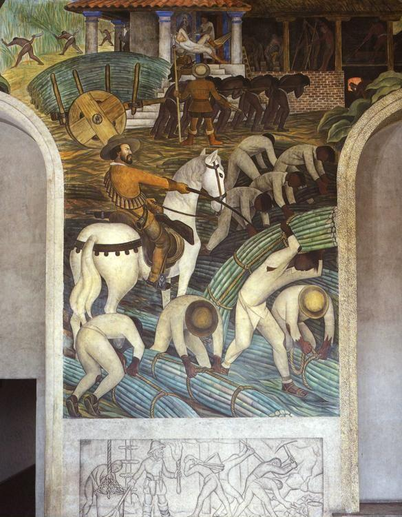 Diego Rivera. The History of Cuernavaca and  Morelos - The Enslavement of the Indian and Constructiong the Cortez Palace. Detail.