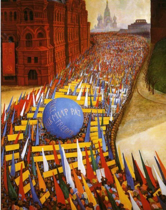 Diego Rivera. May Day Procession in Moscow.  / Desfile del 1.de Mayo en Moscu.