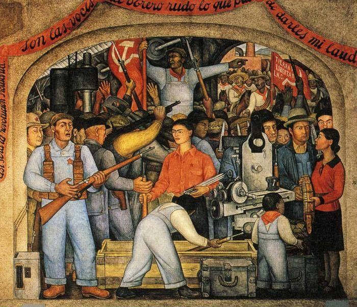 Diego Rivera. From the cycle: Political Vision  of the Mexican People (Court of Fiestas): Insurrection aka  The Distribution of Arms. / El Arsenal - Frida Kahlo repartiendoarmas.