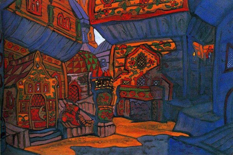 Nicholas Roerich. Prince Vladimir Galitsky's Courtyard. Set design for 1914 Production of Borodin's opera Prince Igor.