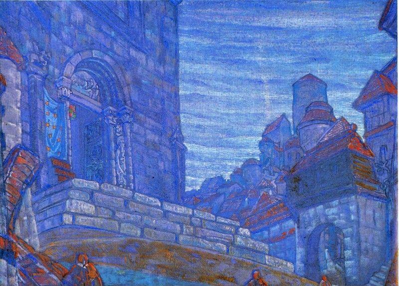 "Nicholas Roerich. Town. Set Design for N.Yevreinov's Mysteria ""Three Magi"" for St. Peterburg Old Theater."
