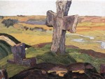Nicholas Roerich. Old Russia, Izborsk. Cross for Truvor Town Site.