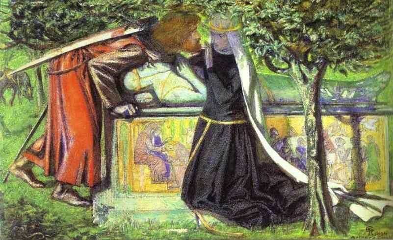 Dante Gabriel Rossetti. Arthur's Tomb:  The Last Meeting of Lancelot and Guinevere.