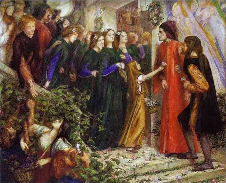 Dante Gabriel Rossetti. Beatrice Meeting  Dante at a Marriage Feast, Denies Him Her Salutation.