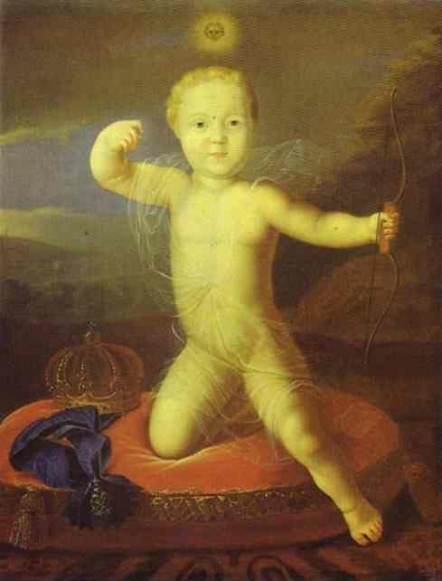Louis Caravaque. Portrait of the Tsarevich  Peter Petrovich as Cupid.