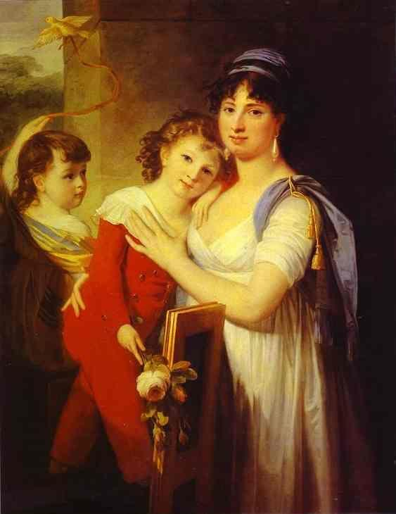 Jean-Laurent Mosnier. Portrait of Anna Muravyova-Apostol  (1770s-1810) with Her Son Mathew (1793-1886) and Her Daughter Catherine  (1794-1849).