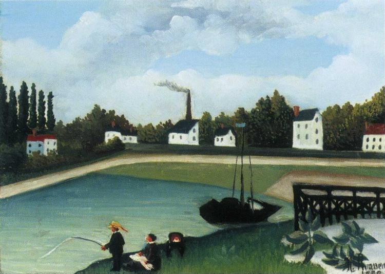 Henri Rousseau. View of the Quai d'Inry near  the Port à l'Anglais, Seine (Family Fishing).
