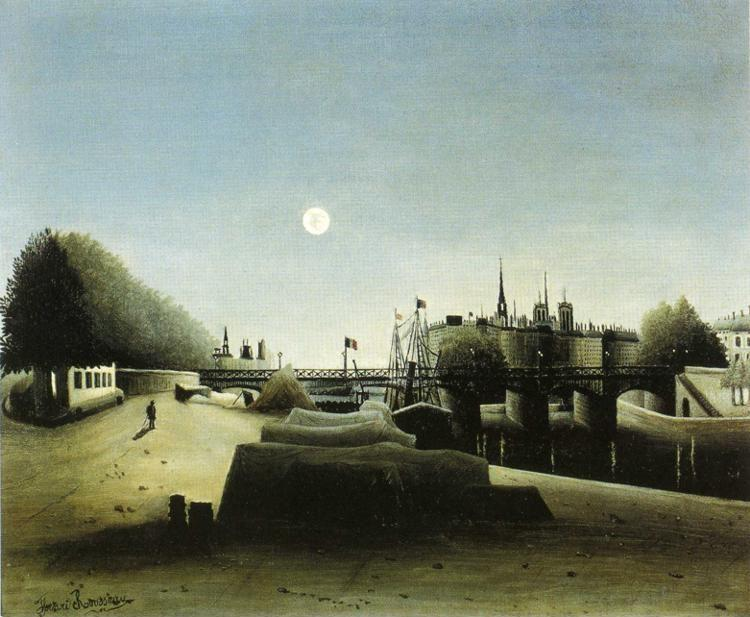 Henri Rousseau. View of the Ile Saint-Louis  seen from the Port Saint-Nicolas. / Vue de l'Ile Saint-Louis prise du port  Saint Nicolas.