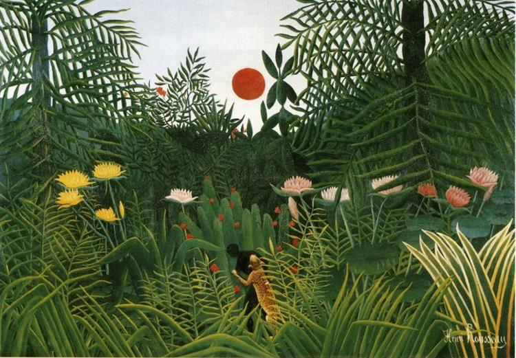 Henri Rousseau. Negro Attacked by a Jaguar.  / Negre attaque par un jaguar.