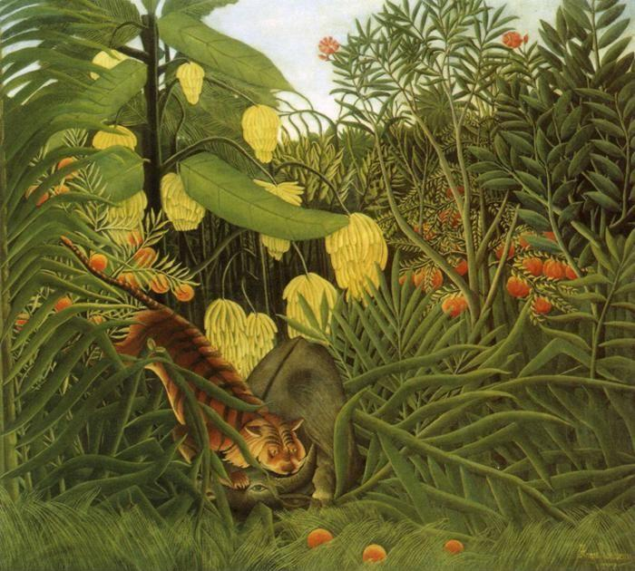 Henri Rousseau. Fight between a Tiger and  a Buffalo. / Combat de tegre et de buffle.