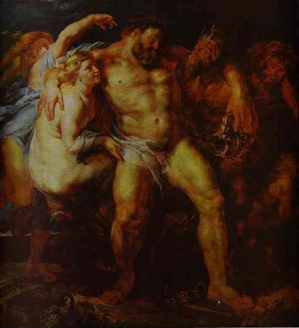 Peter Paul Rubens. Hercules Drunk, Being  Led Away By a Nymph and a Satyr.