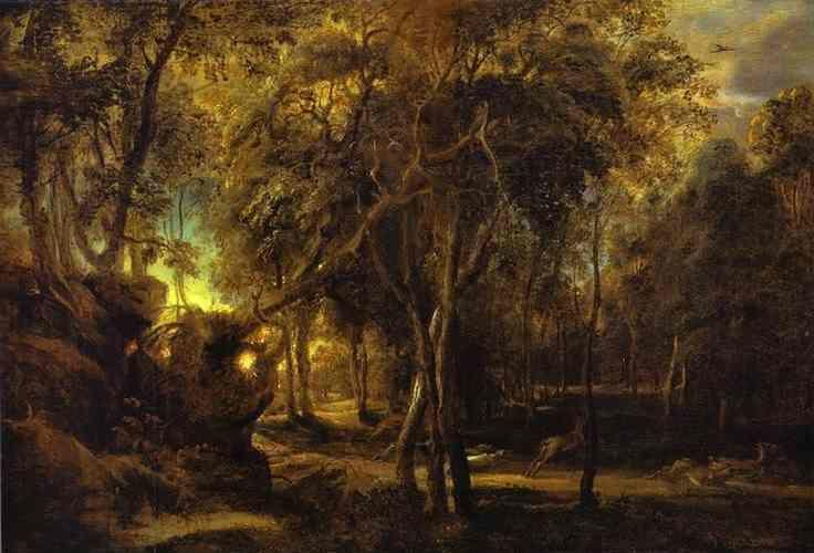 Peter Paul Rubens. A Forest at Dawn with  a Deer Hunt.