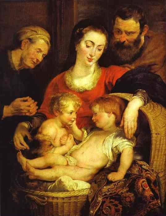 "Peter Paul Rubens. Holy Family with St. Elizabeth  (""Madonna of the Basket"")."