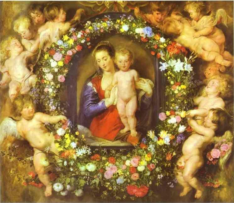 Jan Bruegel the Elder and Peter Paul Rubens. Madonna in a Garland of Flowers.