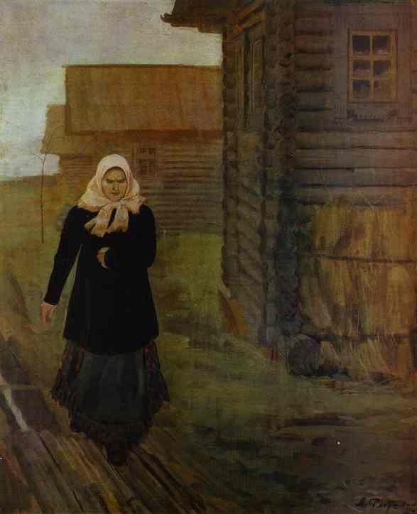 Andrey Ryabushkin. In a Village. Going to  Liturgy.