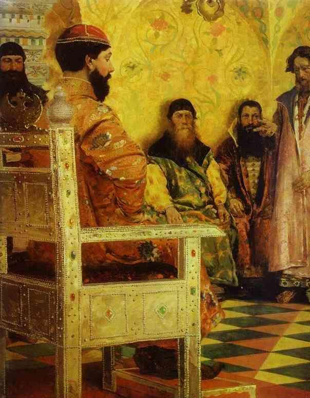 Andrey Ryabushkin. Tzar Mikhail Fedorovich  Holding Council with the Boyars in His Royal Chamber. Detail.
