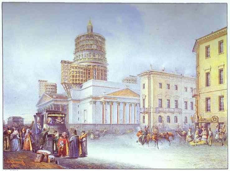Vasily Sadovnikov. Departure of an Omnibus from St. Isaac's Square in St. Petersburg.