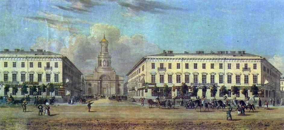 Vasily Sadovnikov. Panorama of the Nevsky Prospect. Detail.