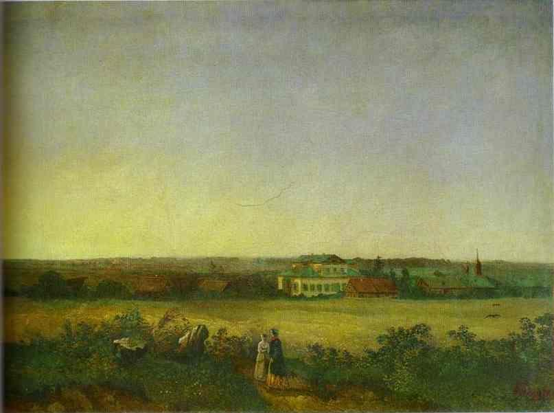 Alexey Savrasov. View in the Vicinity of Moscow with a Mansion and Two Female Figures.