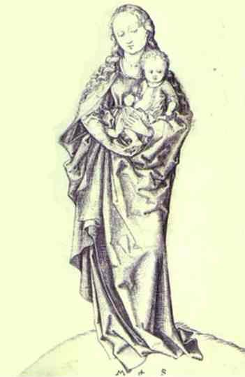 Martin Schongauer. Virgin and the Infant Holding an Apple.