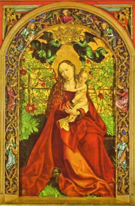 Martin Schongauer. Madonna of the Rose Bower.