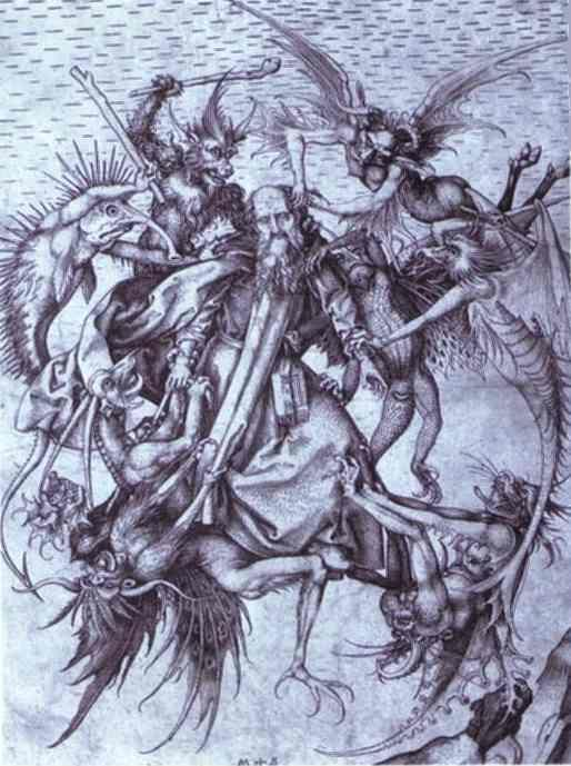 Martin Schongauer. The Temptation of St. Anthony.