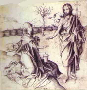 Martin Schongauer. Christ and Mary Magdalene.