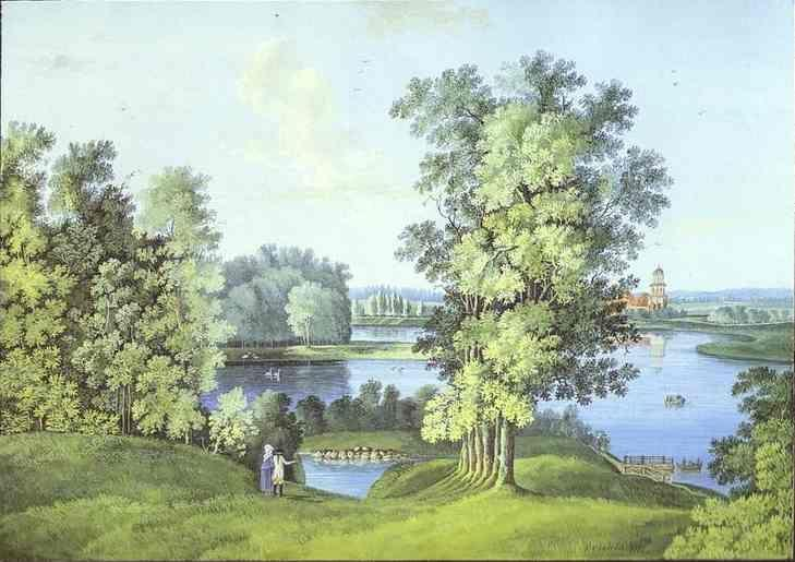 Semion Shchedrin. View of the Large Pond in the Tsarskoselsky Gardens.