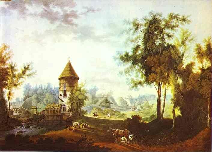 Semion Shchedrin. The Mill and the Peel Tower at Pavlovsk.