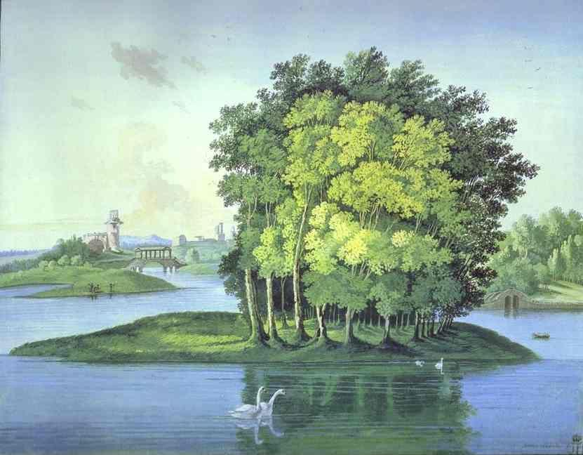 Semion Shchedrin. View on the Large Pond Island in the Tsarskoselsky Gardens.