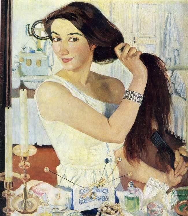 Zinaida Serebriakova. Woman at the Mirror. Self-Portrait.