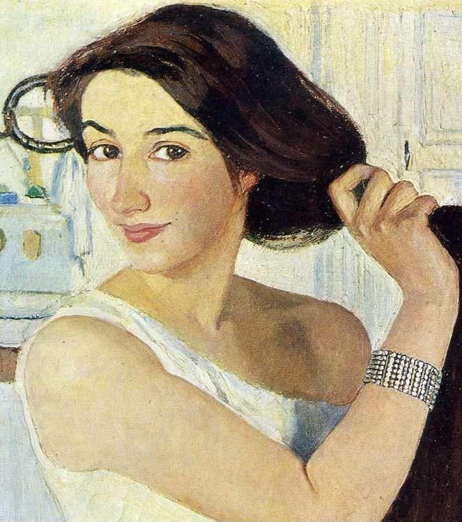 Zinaida Serebriakova. Woman at the Mirror. Self-Portrait. Detail.